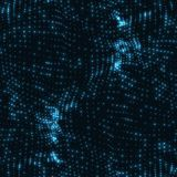 Abstract vector blue wave mesh background. Point cloud array. Chaotic light waves. Technological cyberspace background. Royalty Free Stock Photo