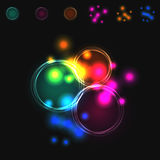 Abstract vector blurred colorful intersecting circles. stock illustration