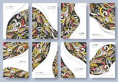 Abstract vector brochure cards set. Print art template of flyear, magazines, posters, book cover, banners. Colorful design royalty free illustration