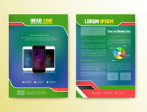Abstract Vector Brochure Template with smartphones. Flyer Layout. Flat Style. Infographic Elements. Vector illustration Stock Image
