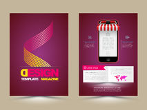 Abstract Vector Brochure Template with smartphones. Flyer Layout. Flat Style. Infographic Elements. Vector illustration Royalty Free Stock Photos