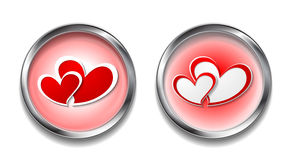 Abstract vector button with hearts Stock Photo
