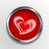 Abstract vector button with love symbol Stock Photography