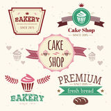 Abstract vector cake vintage logo elements set Stock Photos