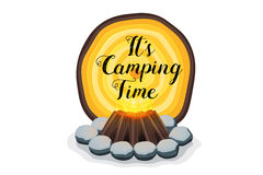 Abstract  vector campfire with wooden texture banner. Camping time Royalty Free Stock Image