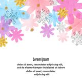 Abstract vector celebration background with colorful watercolor flowers vector illustration