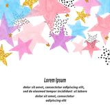 Abstract vector celebration background with colorful watercolor stars. And place for text royalty free illustration