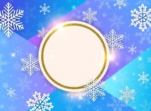 Abstract vector Christmas background with snowflakes. And golden frame. Design for New Year seasonal sale royalty free illustration