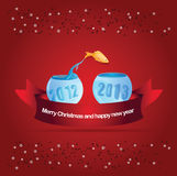 Abstract vector christmas background with fish. Leaping into aquarium 2013 Royalty Free Stock Photos