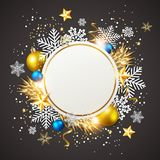 Golden decorations on a black background. Abstract vector Christmas greeting card. White snowflakes and golden decorations on a black background Stock Photo