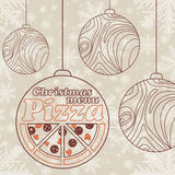 Abstract vector Christmas menu for Pizza Stock Photos
