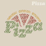 Abstract vector Christmas menu for Pizza Stock Image