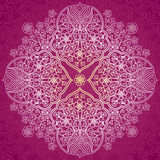 Abstract vector circle background. Lace pattern design. White ornament on purple scroll background. It can be used for decorating of wedding invitations Royalty Free Stock Photography