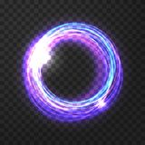 Abstract vector circle. Glowing lilac vector circle on the transparent background royalty free illustration