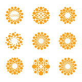 Abstract vector circle logotype. Orange unusual  chemistry logos set. Virus icon. Orange sunny sun. Flower. Royalty Free Stock Photo