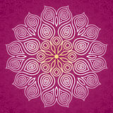 Abstract vector circle ornament. Lace pattern design. White ornament on purple scroll background. It can be used for decorating of wedding invitations, greeting Stock Images
