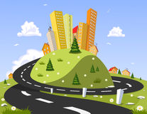 Abstract vector city on the hill Royalty Free Stock Image