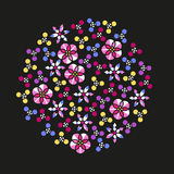 Abstract vector cloud of colorful flower sequins. Isolated floral symbols with outline on black background. Stock Photos