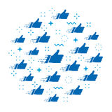 Abstract vector cloud of likes. Isolated blue like symbols with stars, flashes, zig-zag wavy lines, white background. Stock Photo