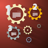 Abstract vector cogs - gears. On Red Background Stock Illustration