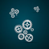 Abstract vector cogs - gears. On Dark Blue background Vector Illustration