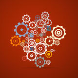 Abstract vector cogs - gears. On Red Background Royalty Free Illustration