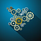 Abstract vector cogs - gears. On Blue Background Royalty Free Illustration