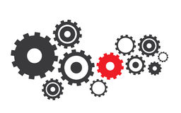 Abstract vector cogs, gears. Cogwheel icon flat, vector illustration, abstract background Stock Photo