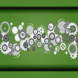 Abstract vector cogs - gears. Abstract vector cogs - gears on green background Vector Illustration