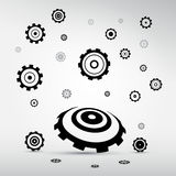 Abstract vector cogs - gears. On grey background Royalty Free Illustration