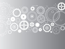 Abstract vector cogs - gears on grey background Royalty Free Stock Photo