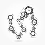 Abstract vector cogs - gears on grey background. Vector illustration Vector Illustration