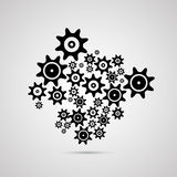 Abstract vector cogs - gears. Isolated on Grey Background Vector Illustration