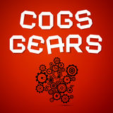 Abstract Vector Cogs - Gears. On Red Background Vector Illustration