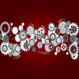 Abstract vector cogs - gears. Abstract vector cogs - gears on red background Vector Illustration