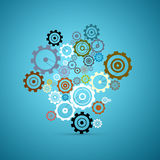 Abstract Vector Cogs - Gears. Set on Blue Background Stock Illustration