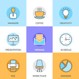 Abstract vector collection of flat line office and business icons. Elements for mobile and web applications. Abstract vector collection of flat line office and Stock Images