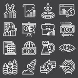 Abstract vector collection of line investment icons. Elements for mobile and web applications Royalty Free Stock Images
