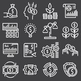Abstract vector collection of line investment icons. Elements for mobile and web applications Stock Photos