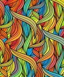 Vector wave background of doodle hand drawn lines. Abstract vector color background of doodle hand drawn lines. Colorful floral pattern. Wave wallpaper Stock Photo