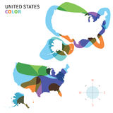Abstract vector color map of United States Royalty Free Stock Photo