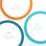Abstract Vector Colorful Circle 3d Diagram Background. Abstract, vector background template with 3 sections made of overlapping circles with colorful rings and Stock Photography