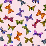 Vector colorful doodle butterflies seamless pattern. Abstract vector colorful doodle butterflies seamless pattern stock photo