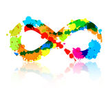 Abstract Vector Colorful Infinity Symbol. Made From Splashes, Blots Royalty Free Stock Photo