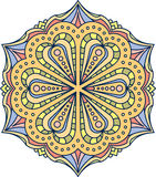 Abstract vector colorful round lace design in mono line style -. Mandala, decorative element in bright colors stock illustration