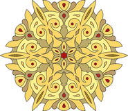 Abstract vector colorful round lace design in mono line style -. Mandala, decorative element in yellow and bright colors vector illustration