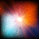 Abstract vector colorful space background. Explosion of glowing particles. Christmas star. Futuristic technology style. Stock Photos