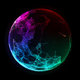 Abstract vector colorful sphere. Futuristic techno style. Royalty Free Stock Images