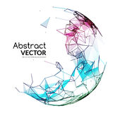 Abstract vector colorful sphere. Futuristic techno style. Trendy background for business presentations. Flying triangles Stock Photography