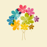 Abstract Vector Colorful Tree. On Old Paper Background Stock Photos